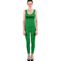Pattern Green Background Lines OnePiece Catsuit
