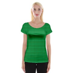 Pattern Green Background Lines Women s Cap Sleeve Top