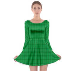 Pattern Green Background Lines Long Sleeve Skater Dress