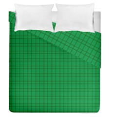 Pattern Green Background Lines Duvet Cover Double Side (Queen Size)