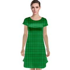 Pattern Green Background Lines Cap Sleeve Nightdress