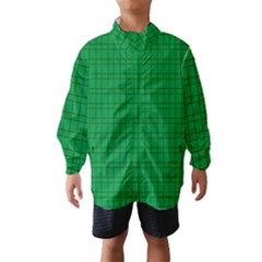 Pattern Green Background Lines Wind Breaker (kids)