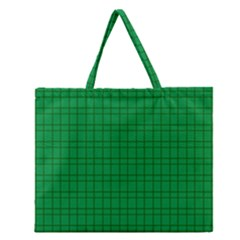 Pattern Green Background Lines Zipper Large Tote Bag