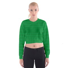 Pattern Green Background Lines Cropped Sweatshirt