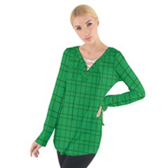 Pattern Green Background Lines Women s Tie Up Tee