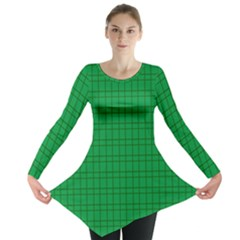 Pattern Green Background Lines Long Sleeve Tunic