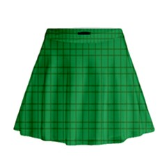 Pattern Green Background Lines Mini Flare Skirt