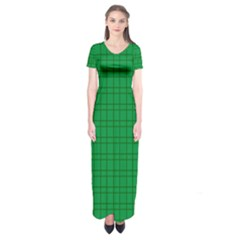 Pattern Green Background Lines Short Sleeve Maxi Dress