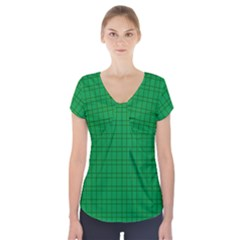 Pattern Green Background Lines Short Sleeve Front Detail Top
