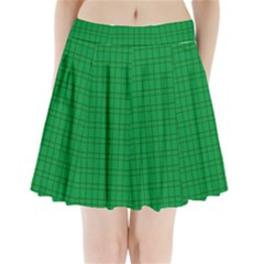 Pattern Green Background Lines Pleated Mini Skirt