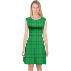 Pattern Green Background Lines Capsleeve Midi Dress