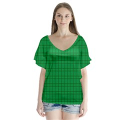 Pattern Green Background Lines Flutter Sleeve Top
