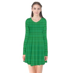 Pattern Green Background Lines Flare Dress