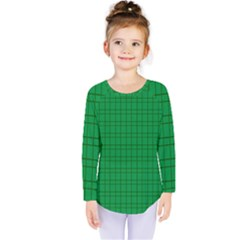 Pattern Green Background Lines Kids  Long Sleeve Tee