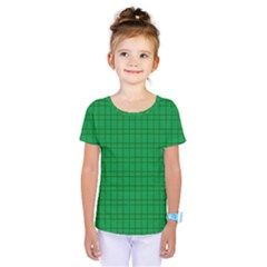 Pattern Green Background Lines Kids  One Piece Tee