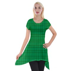 Pattern Green Background Lines Short Sleeve Side Drop Tunic