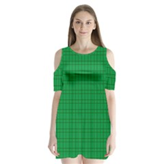 Pattern Green Background Lines Shoulder Cutout Velvet  One Piece