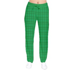 Pattern Green Background Lines Drawstring Pants