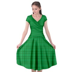 Pattern Green Background Lines Cap Sleeve Wrap Front Dress