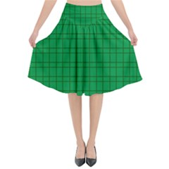 Pattern Green Background Lines Flared Midi Skirt