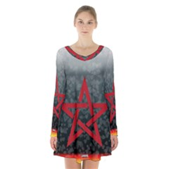 Bullshit Shirts Celtic Pentagramm 1 Long Sleeve Velvet V Neck Dress