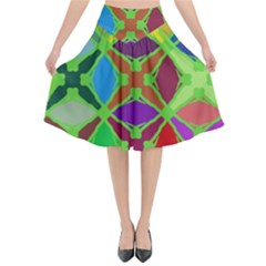 Abstract Pattern Background Design Flared Midi Skirt by Nexatart
