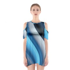 Abstract Pattern Lines Wave Shoulder Cutout One Piece