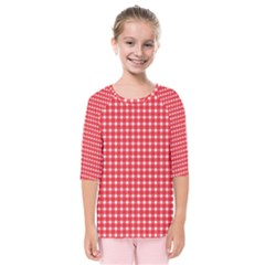 Pattern Diamonds Box Red Kids  Quarter Sleeve Raglan Tee