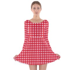 Pattern Diamonds Box Red Long Sleeve Velvet Skater Dress