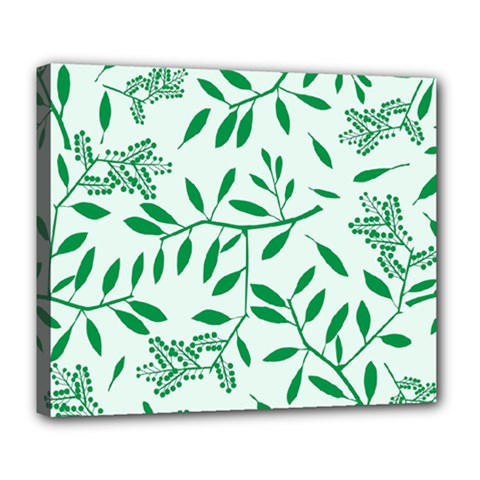 Leaves Foliage Green Wallpaper Deluxe Canvas 24  X 20   by Nexatart
