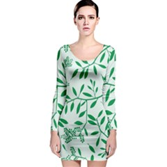 Leaves Foliage Green Wallpaper Long Sleeve Bodycon Dress by Nexatart