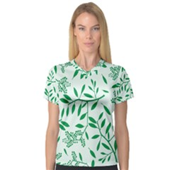 Leaves Foliage Green Wallpaper Women s V Neck Sport Mesh Tee by Nexatart