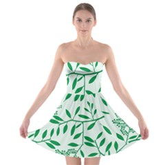 Leaves Foliage Green Wallpaper Strapless Bra Top Dress by Nexatart
