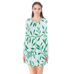 Leaves Foliage Green Wallpaper Flare Dress by Nexatart