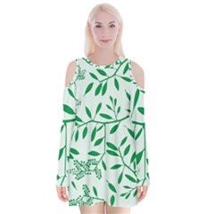 Leaves Foliage Green Wallpaper Velvet Long Sleeve Shoulder Cutout Dress by Nexatart