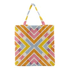 Line Pattern Cross Print Repeat Grocery Tote Bag by Nexatart