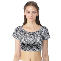 Gray Scale Pattern Tile Design Short Sleeve Crop Top (tight Fit)