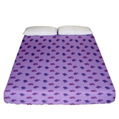 Pattern Background Violet Flowers Fitted Sheet (california King Size)