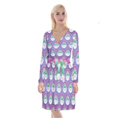 Background Floral Pattern Purple Long Sleeve Velvet Front Wrap Dress