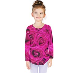 Pink Roses Roses Background Kids  Long Sleeve Tee