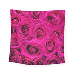 Pink Roses Roses Background Square Tapestry (small)