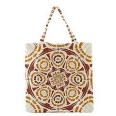 Brown And Tan Abstract Grocery Tote Bag by linceazul