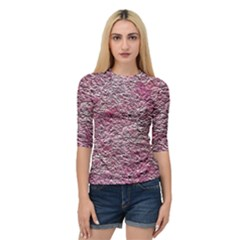 Leaves Pink Background Texture Quarter Sleeve Tee
