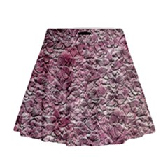 Leaves Pink Background Texture Mini Flare Skirt