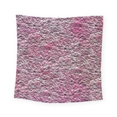 Leaves Pink Background Texture Square Tapestry (small) by Nexatart