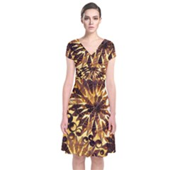 Mussels Lamp Star Pattern Short Sleeve Front Wrap Dress