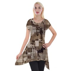 Color Abstract Background Textures Short Sleeve Side Drop Tunic
