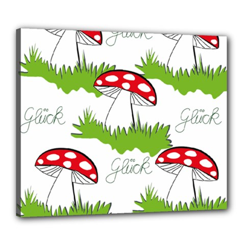 Mushroom Luck Fly Agaric Lucky Guy Canvas 24  X 20  by Nexatart