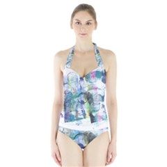 Background Color Circle Pattern Halter Swimsuit