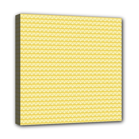 Pattern Yellow Heart Heart Pattern Mini Canvas 8  X 8